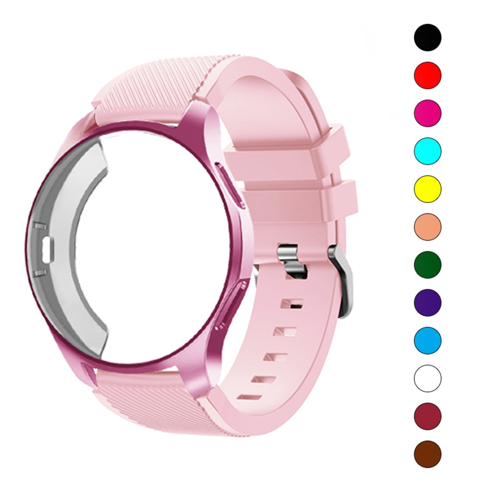 case for samsung galaxy watch 46mm 42mm strap tpu plated screen protector cover bumper s 3 42 46 mm gear s3 frontier band Silicone Case+band For Samsung Galaxy watch 46mm 42mm strap Gear S3 Frontier Band Sports watchband+Protector watch case 42 46mm