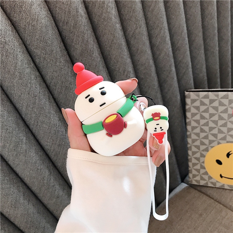 cute case for apple airpods case pink cartoon bluetooth earphone case for airpods 1 2 charging bags headphone soft case hooks For Airpods 1/2 Case,3D Cartoon Cute Christmas snowman Case For AIrpods Case Soft Silicone Protective Earphone Case