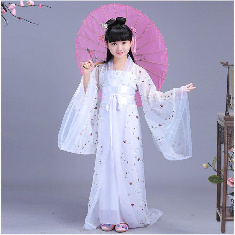 فتاة فستان صيني تقليدي دراماتورجية فستان كلاسيكي صيني راقص تقليدي فستان أبيض للأطفال فستان كلاسيكي تأثيري
