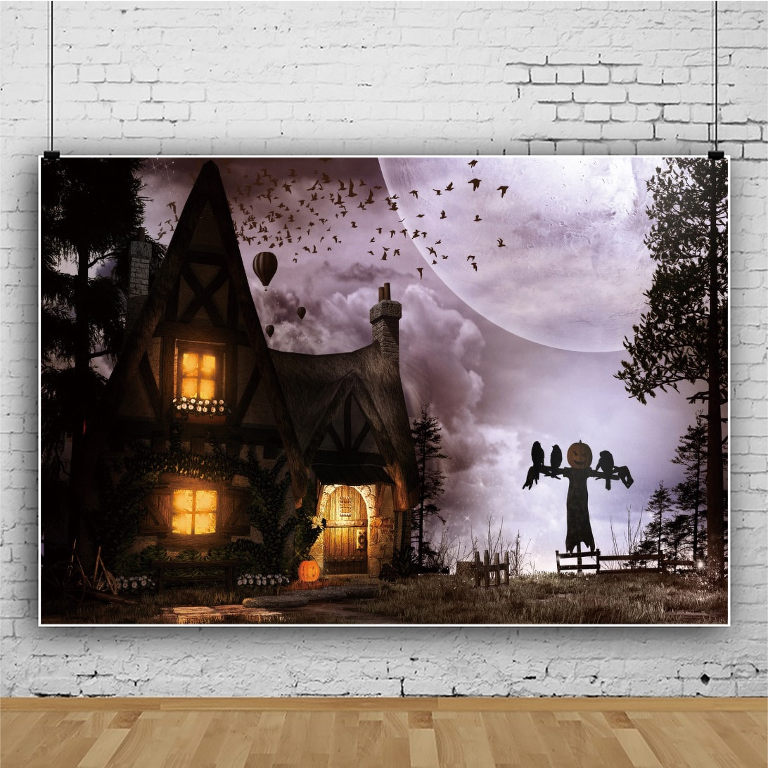 Laeacco Castle Moon Mist Forest Halloween Party Background Horrible Night Scene Photo Backdrop Photographic Banner Studio