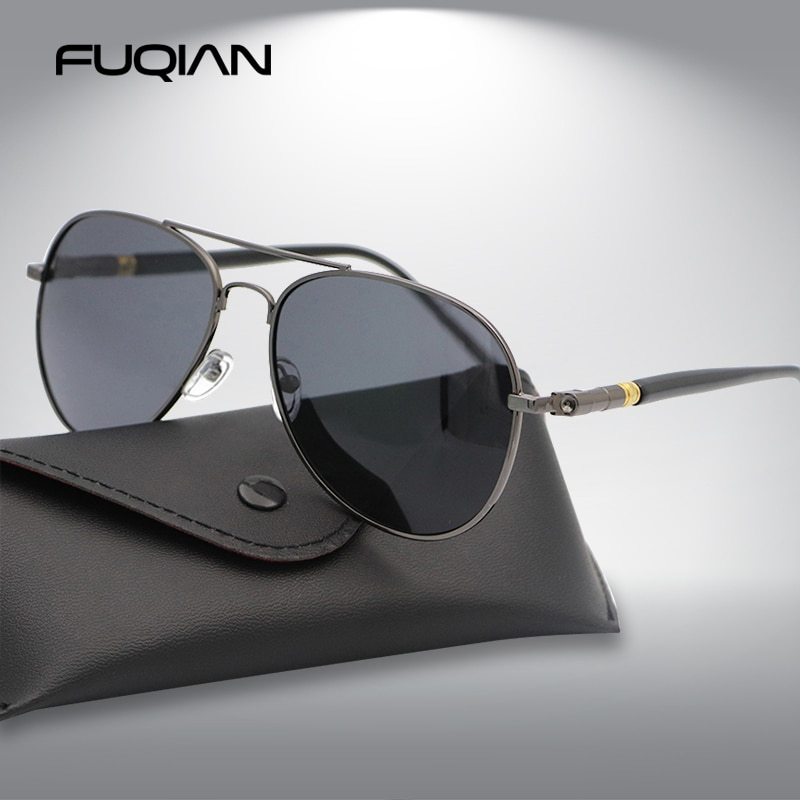 FUQIAN Fashion Pilot Men Polarized Sunglasses Oversized Metal Aviation Male Sun Glasses Classic Blac