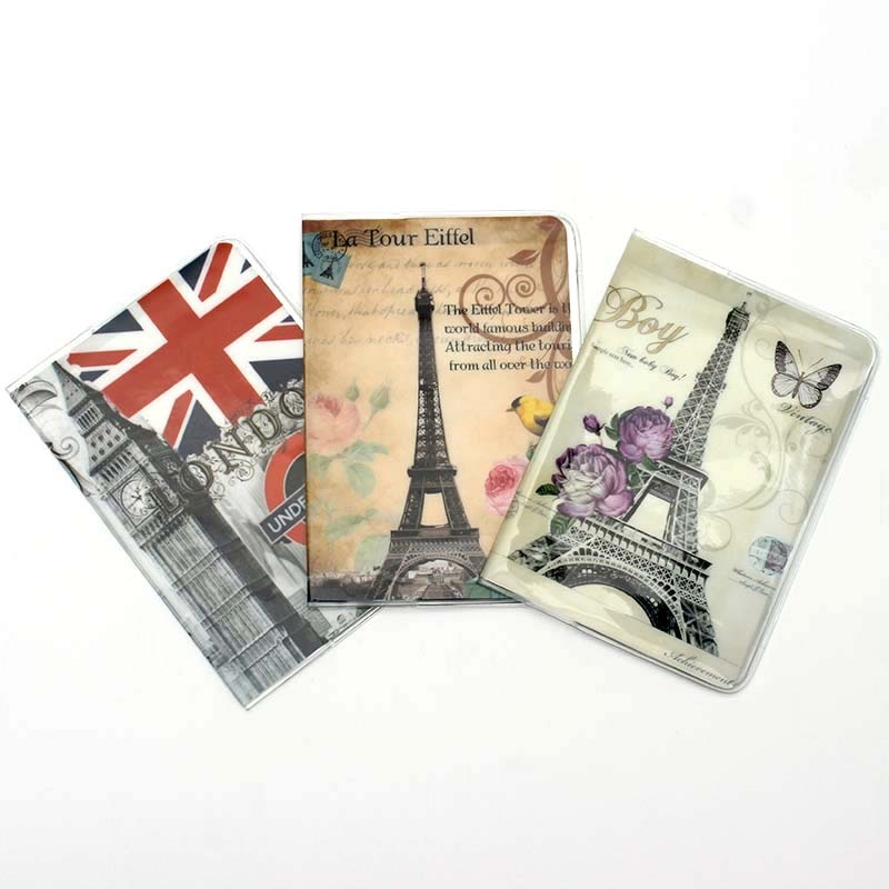 Nuevo soporte para pasaporte de moda Torre Eiffel cubierta para pasaporte hermoso Paquete de pasaporte viaje tarjetero bolsa 14*9,6 cm