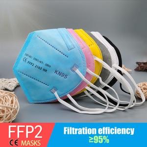 Multicolor Adult 5 Layers Black FFP2 KN95 Mascarilla Respirator Fabric Face Mask KN95 Filter Mouth Dustproof Reuseable ffp2mask