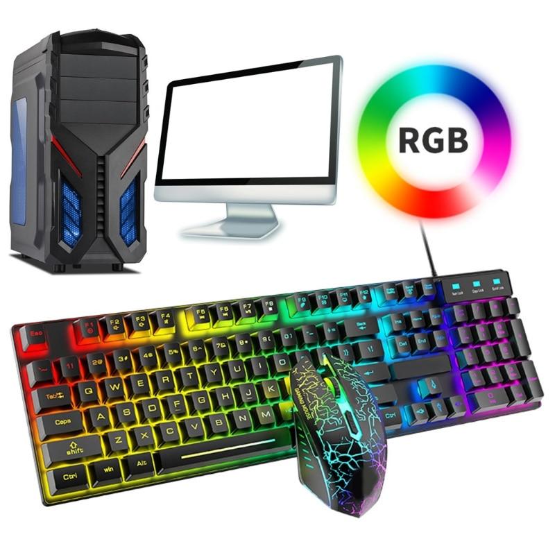 لوحة مفاتيح بإضاءة خلفية RGB للألعاب ، ماوس سلكي مع USB للاعبين والكمبيوتر المحمول