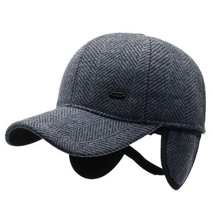 New fashion men's winter cold and warm baseball cap European and American style with earmuffs thickened windproof dad fitted hat