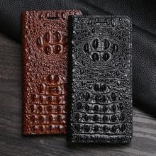 Coque de téléphone à rabat en cuir pour OPPO Find X2 R15 R17 Reno Z 2X 2F 3 4 Pro Ace 2 A5 A9 sac portefeuille à tête de Crocodile en cuir de vachette magnétique