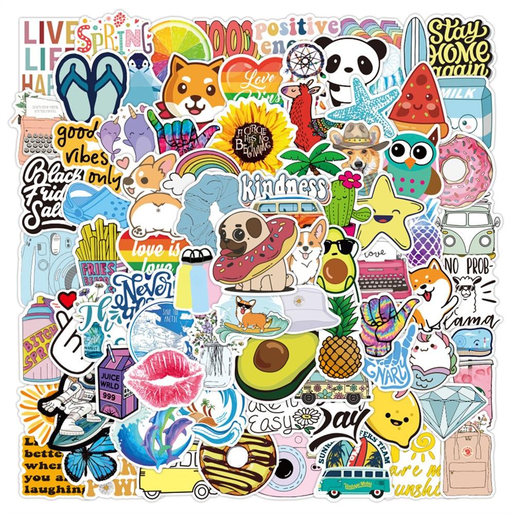 10/30/50PCS Brand New Small Fresh and Cute Cartoon Kit Graffiti Suitcase Skateboard Decoration Waterproof Sticker Toy Wholesale