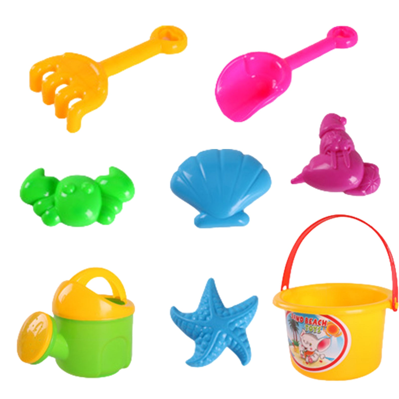 Children Pretend Play Toy Set Harmless 8 Pieces Beach Plaything Five Colors Mixed 8 Products The Colors Are Shipped Randomly