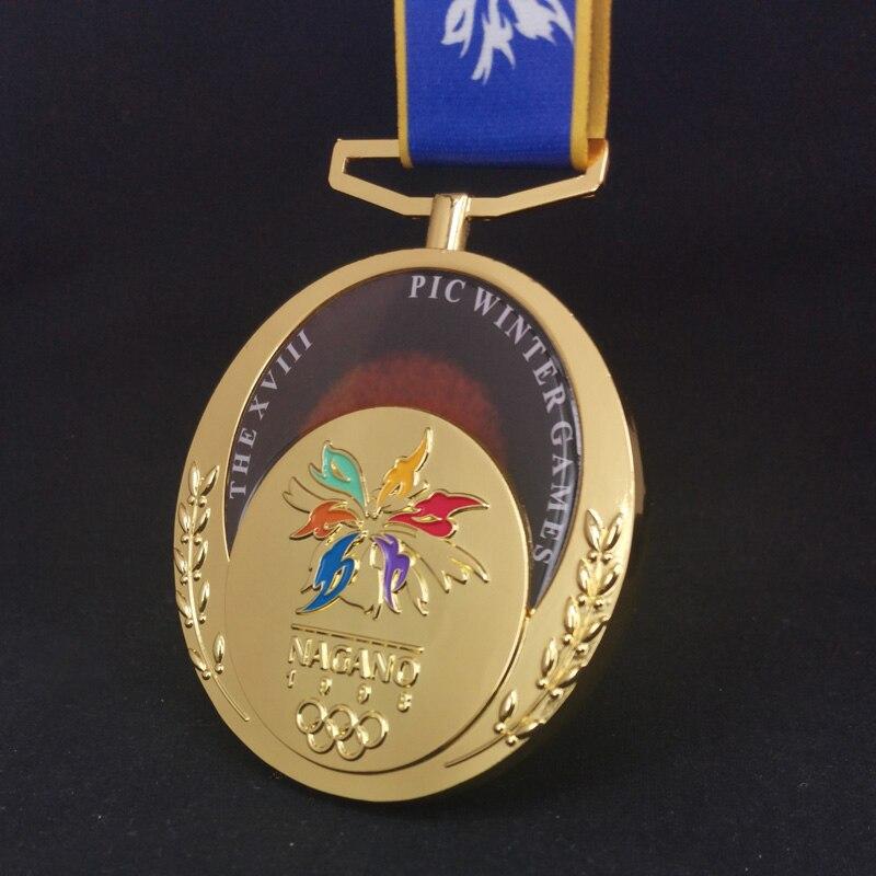 1998, 2014, 2018, Реплика медали для зимней игры, спортивные медали, сувениры, металлическая Золотая, серебряная, бронзовая медаль с лентой, медали ...