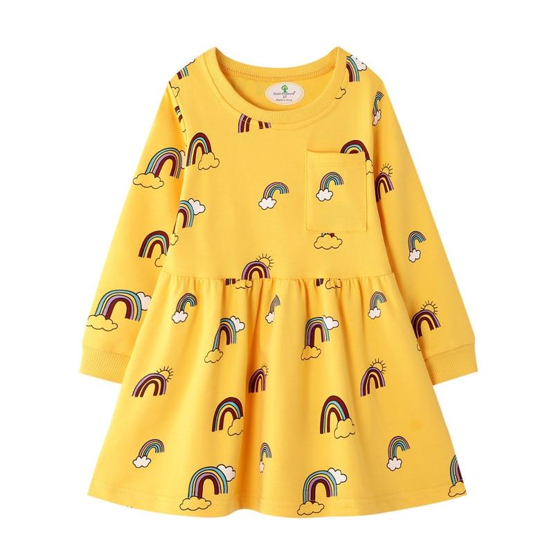 Long Sleeve Rainbow Girls Dress Clothing Party Tutu Baby Dresses Cotton Princess Cute Birthday Gift Halloween Kid Dress