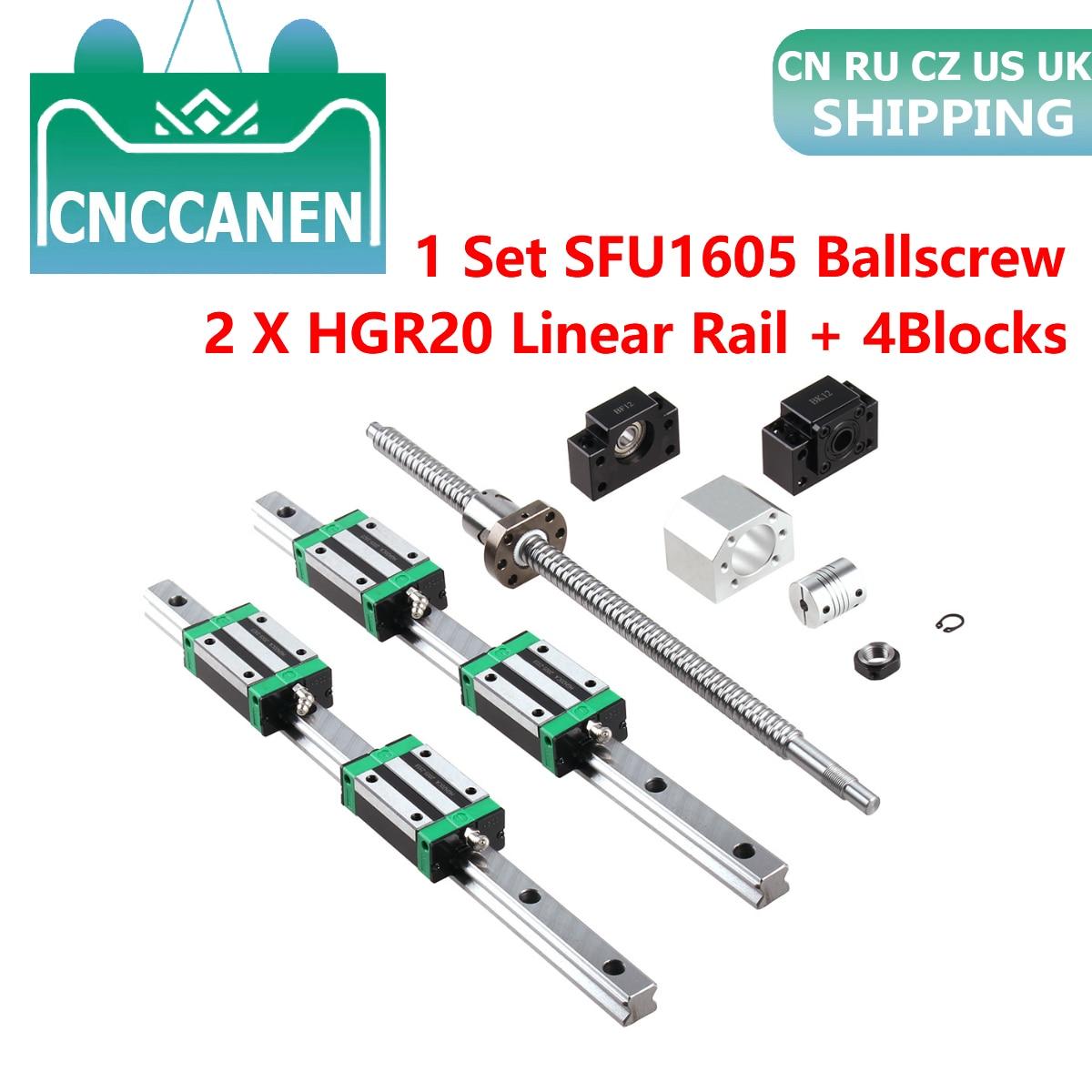 RU HGR20 مربع الخطي دليل السكك الحديدية 2 مجموعة HGR20 + كتلة HGH20CA + SFU1605 الكرة المسمار 5 مللي متر الرصاص + BK12BF12 CNC خطي المحرك