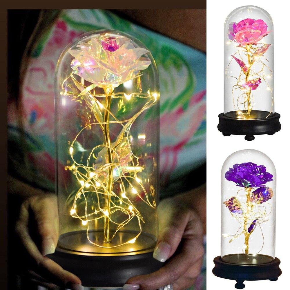 غالاكسي روز الأبدية الذهب احباط الزهور في زجاج قبة مع LED ضوء هدايا لعيد الحب عيد الأم الزفاف ديكور دروبشيبينغ