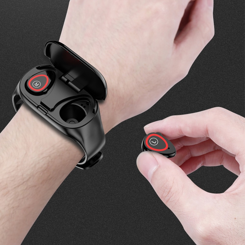 FLUXMOB-2 في 1 ساعة ذكية ، مع سماعة رأس لاسلكية ، بلوتوث ، بدون استخدام اليدين ، سماعة رأس ، جهاز تعقب للياقة البدنية ، سوار زوجين