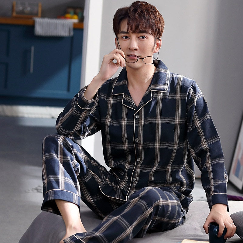 Pajamas mens spring and autumn woven cotton long sleeve home wear thin summer suit