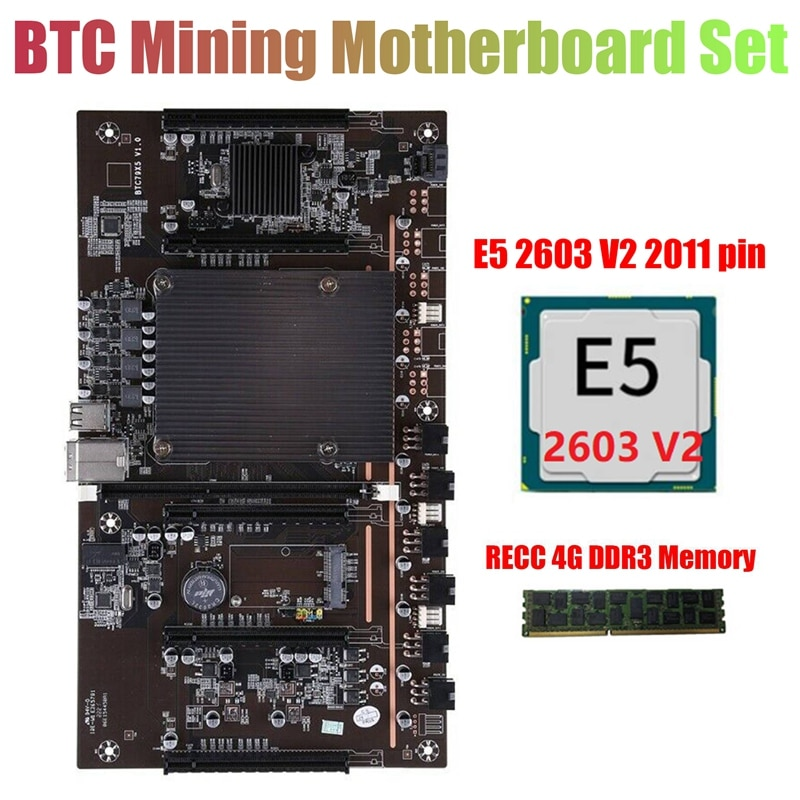 X79 H61 BTC التعدين اللوحة مع E5 2603 V2 CPU + RECC 4G DDR3 الذاكرة LGA 2011 DDR3 دعم 3060 3080 بطاقة جرافيكس