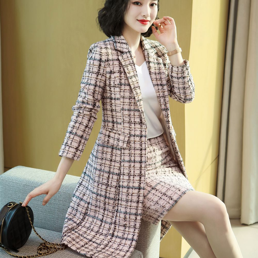 Temperament High Quality Women's Jacket Skirt Two-piece Suit Winter Elegant Long Plaid Ladies Jacket Slim-fit Skirt Female
