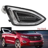 for ford edge 2015 2016 2018 led fog light assy drl foglights headlights cover frame grille daylights car accessories us model