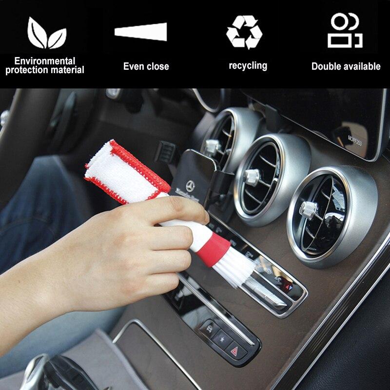 Dupla cabeça durável 2 em 1 duplo slider carro ar-condicionado saída ferramenta de limpeza janela limpeza escova multi-purpose