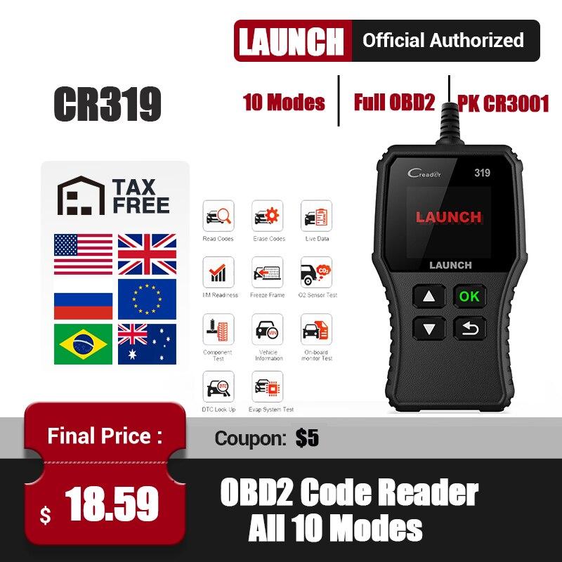 Launch CR319 OBD2 escáner obdii falla lector de códigos de coche Creader 319 automotriz completa OBDII función Auto herramienta de diagnóstico PK CR6001