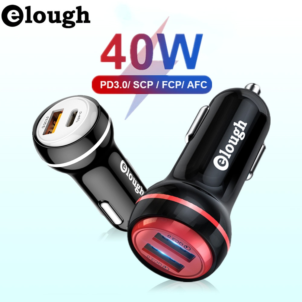 Elough 40W Car Charger 4.0 QC3.0 PD Type C Quick Phone USB Charge Fast Charger For iphone 11 12 Xiao