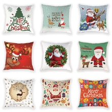 Christmas Decoration Cushion Santa Claus Cushions For Sofa Elk Pillow Case 45*45 Lovely Throw Pillow Chair Decorative Cushions