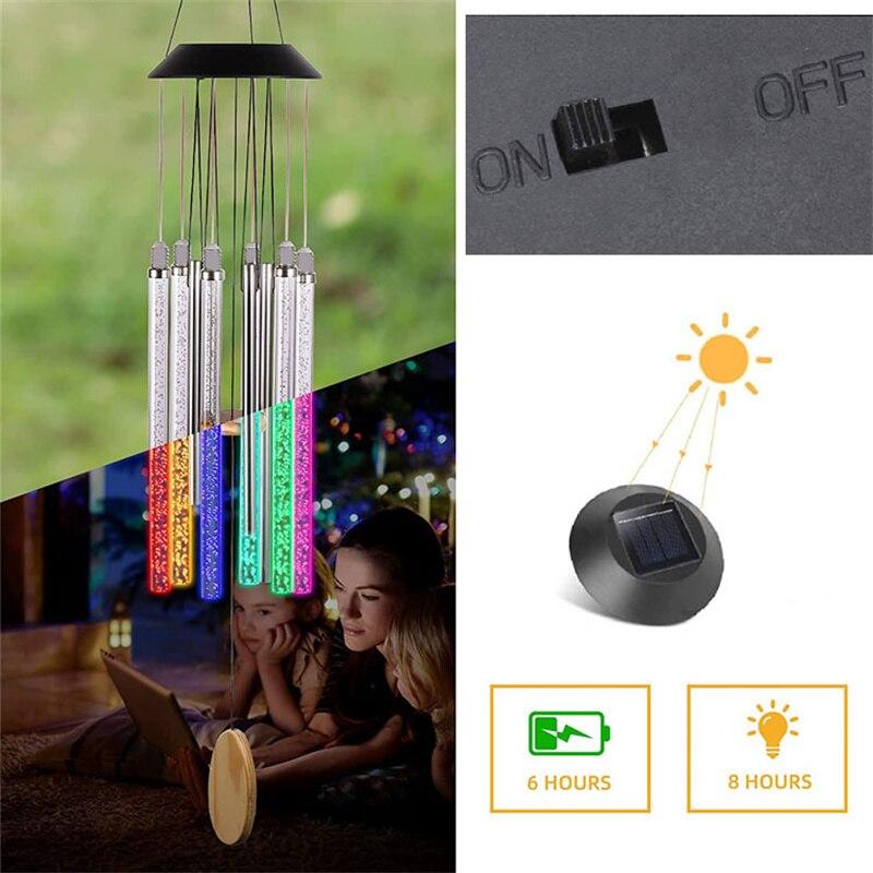 sinos de vento incandescente design romantico economia de energia luz solar noite
