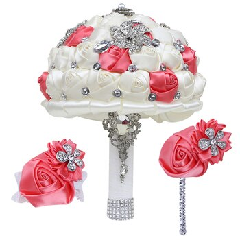 Collection Promotional Bride Bridesmaid Bouquet Watermelon Red Rhinestone Bridesmaid Wrist Corsage 3-Piece Set T308