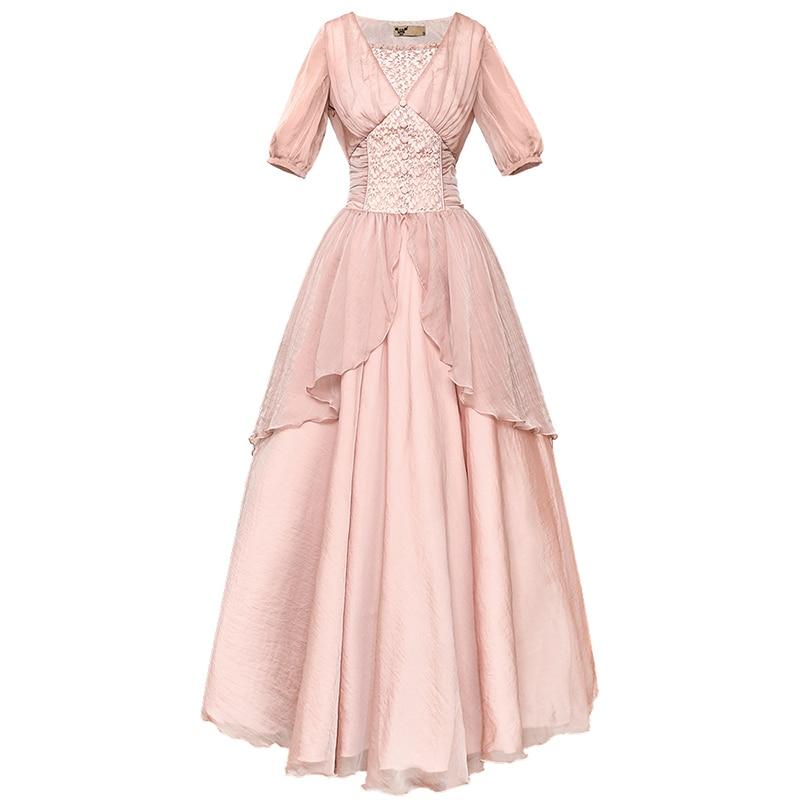 PERHAPS U pink v neck puff short sleeve empire long dress solid chiffon elegant dress women ummer beach holiday D2627