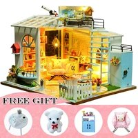 casa de boneca doll house furniture miniature dollhouse diy miniature house room box theatre toys children casa dollhouse s02a