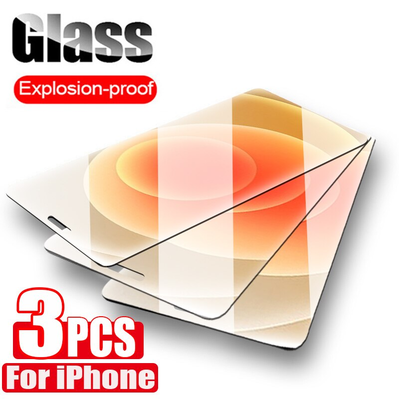 3 pçs capa completa de vidro temperado para iphone 7 8 plus 6s 5 5S se vidro para iphone x xr xs 11 12 pro max 12 mini protetor de tela
