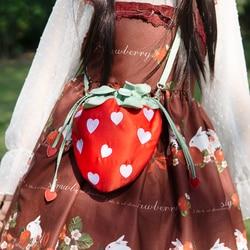 Leite chá urso * original japonês doce morango puxar corda bonito cross-corpo saco bordado pérola corrente menina saco do telefone móvel