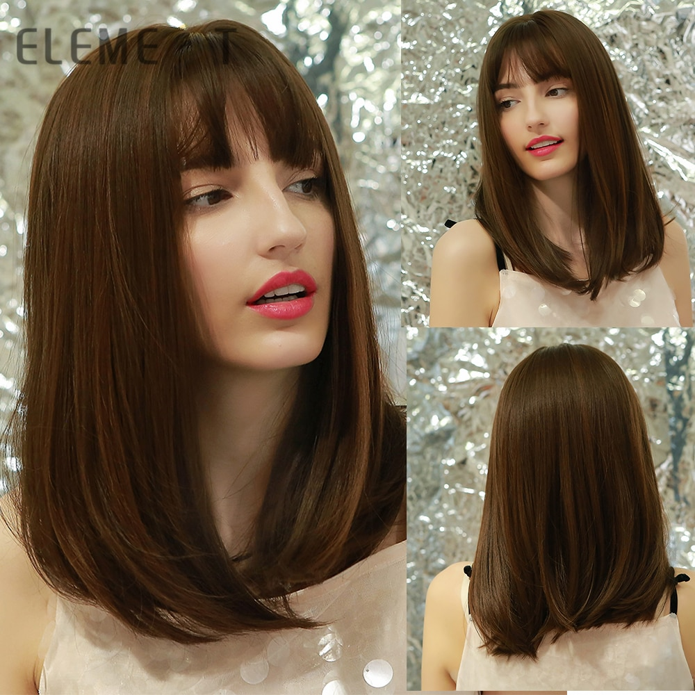 Element Girls Dark Brown Straight Synthetic Hair Wigs with Bangs for Women Long Cosplay Party Daily Wig Heat Resistant Natural