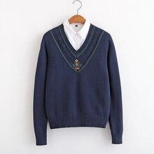 Invierno barco insignia con ancla bordado cuello en V suéter estilo universitario chicas adolescentes de manga larga Pullover tapas Harajuku JK uniforme escolar