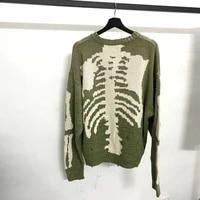 kapital green loose skeleton bone printing sweater men woman good quality high street damage hole vintage 11 knit sweater