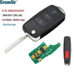3 + 1 botão keyless-go remoto chave 315 mhz id48 chip fob para volkswagen passat cc jetta golf beetle p/n nbg010206t 5k0 837 202 ak