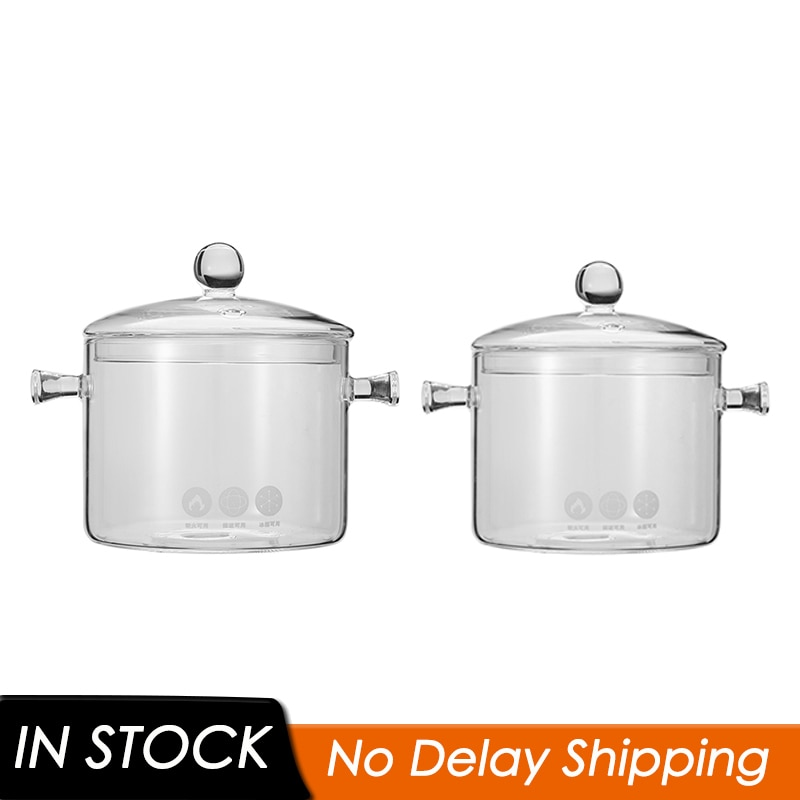 وعاء الحساء الزجاجي ، 1.35 ، 1.5 لتر ، موقد الغاز والحث ، أدوات الطبخ الزجاجية الشفافة ، مقاومة للانفجار