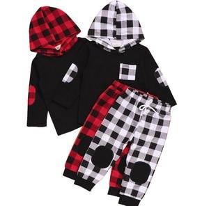 Toddler Baby Girl Boy Clothing Xmas 2pcs Pocket Long Sleeve Hooded Sweatshirt Top+Plaid Print Patch Long Pants