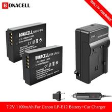 Bonacell LP-E12 LP E12 LPE12 리튬 이온 배터리 + 캐논 EOS M50, EOS M100,100D 키스 X7 반란군 SL1 카메라 L70 용 차량용 충전기
