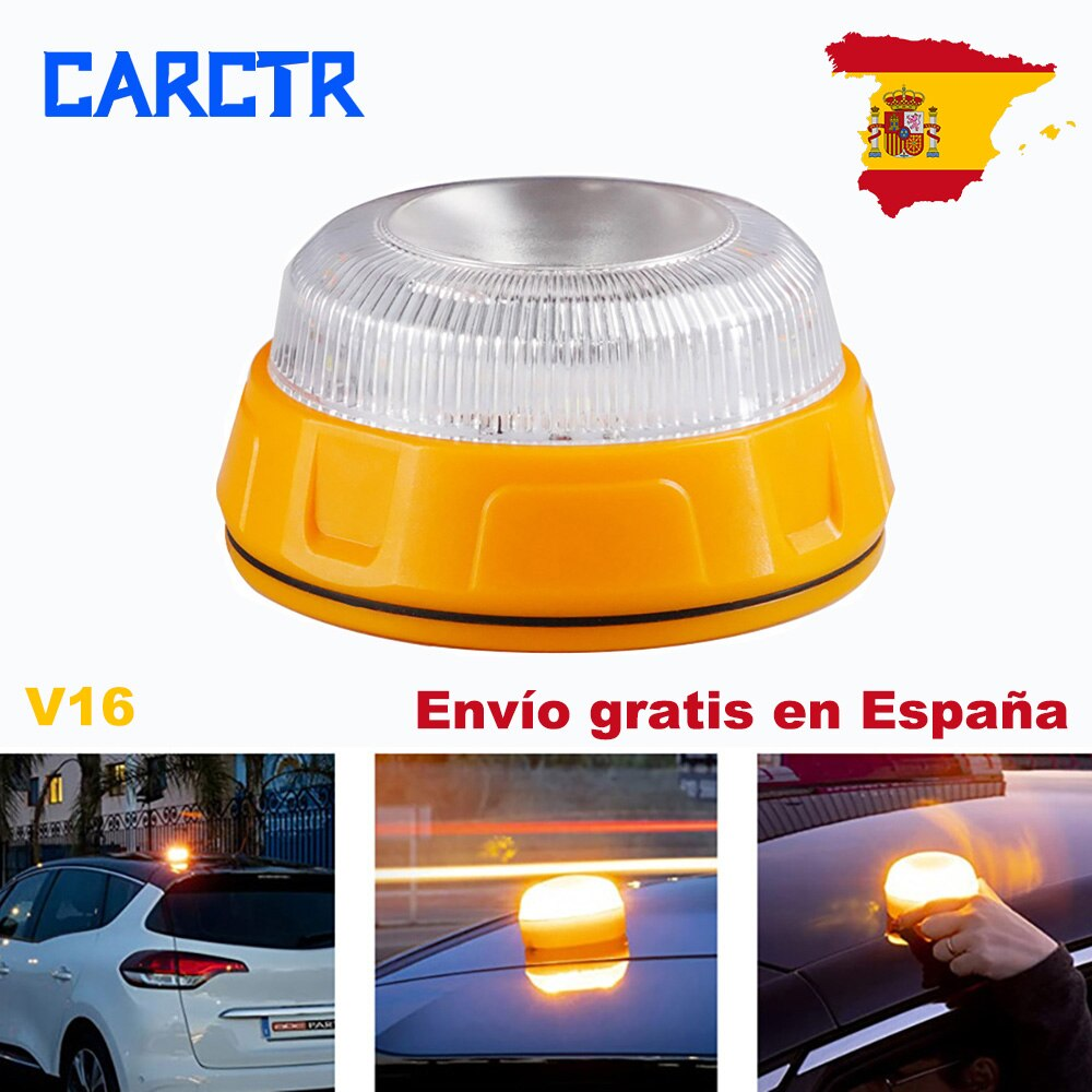 Автомобильные предупреждающие фонари CARCTR V16, аварийные магнитные фонари на присоске, аварийные мигающие огни 3AAAYellow