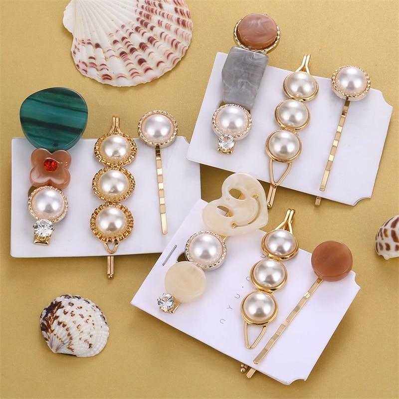 3 unids/set perlas de moda acetato geométrica pinzas de pelo para mujer francés elegante pelo accesorios para el cabello de belleza estilo conjunto de herramientas
