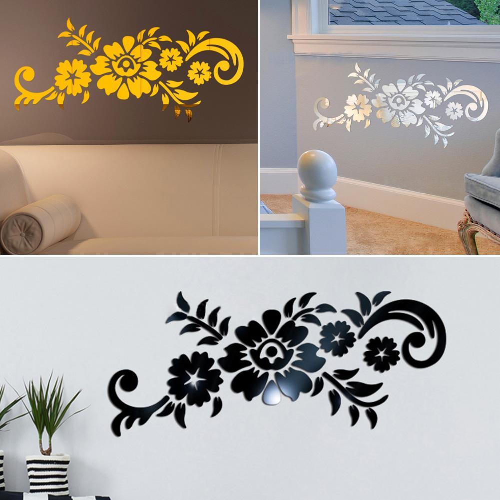 Nuevo acrílico 3D espejo flor patrón pared pegatina fondos hogar TV Fondo calcomanía 3D flores diseño espejo efecto pared Decoración
