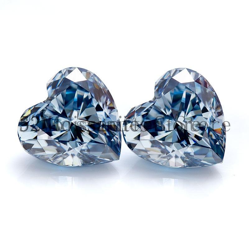 8x8 مللي متر جودة عالية ممتازة الأزرق الداكن القلب قص D VVS1 المهنية مويزانايت مفكوك المورد مصنع قبول التخصيص