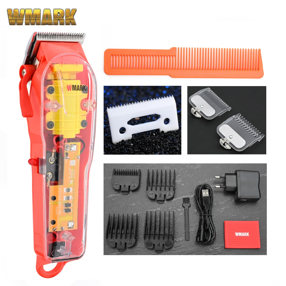 2020 WMARK New Model NG-108 Rechargeable Hair Cutting Machine Hair Clippers Trimmer Transparent Cove