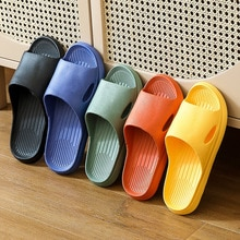 2021 New Slippers Women Summer Thick Bottom Indoor Couples Home Bathroom Non-slip Soft Slippers Floo