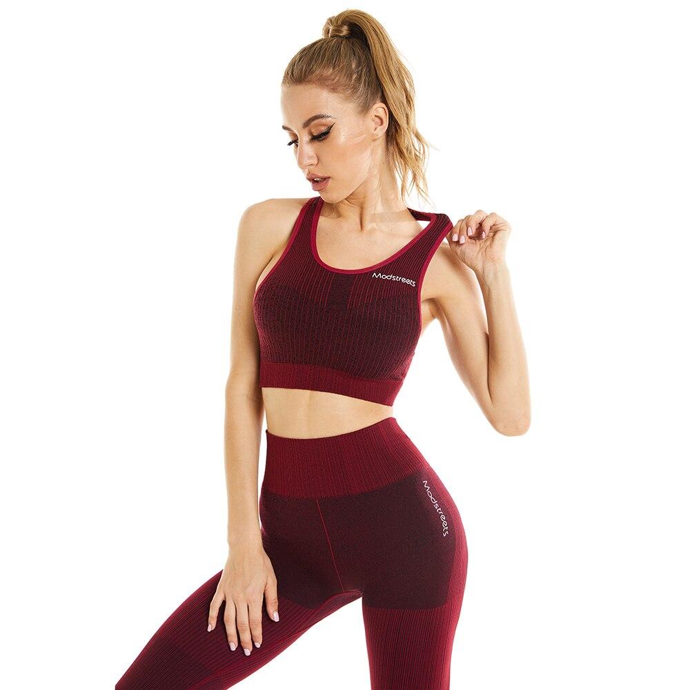 النساء تجريب ملابس 2 قطعة مضلع عالية الخصر طماق حمالة صدر رياضية مبطنة للنساء رياضة رياضية مجموعة اللياقة البدنية Yooga وتتسابق