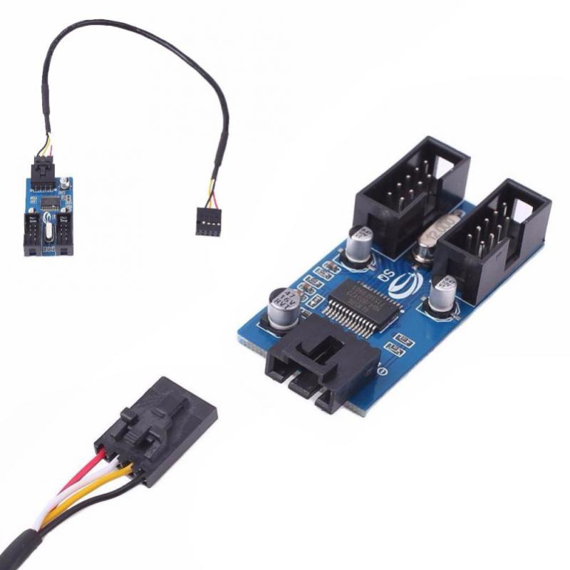 Motherboard USB 9Pin Multiplier Splitter Gadget 1 To 2 Female Extension Splitter Cable Securely Fixe