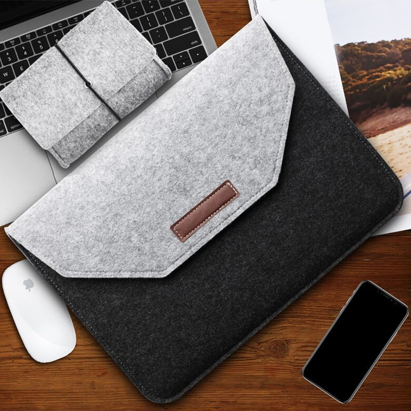 Wool Felt Laptop Sleeve Bag For Macbook Air 13 2018 2019 Case 11 12 New Pro 15 Touch Bar Cover For X