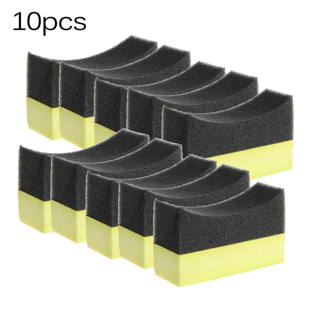 10 Uds cepillo de neumático de coche esponja multiusos PE aplicador de vendaje de neumático curvado brocha de esponja almohadilla profesional