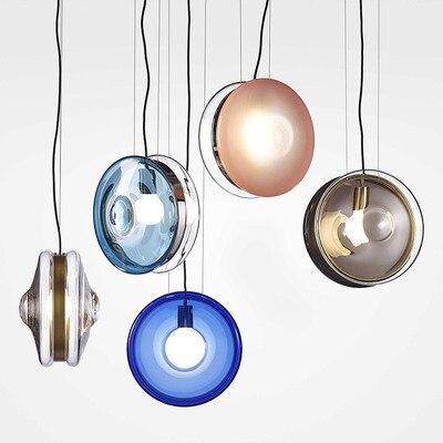 الشمال الحديثة led كرة زجاجية بريق لوميناريا الصناعية قلادة مصباح أضواء Hanglamp تركيبات الإضاءة غرفة نوم مصباح معلق