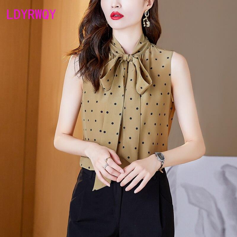 LDYRWQY  2021 new summer Korean fashion round neck sleeveless polka-dot bow chiffon shirt Office Lady Polyester